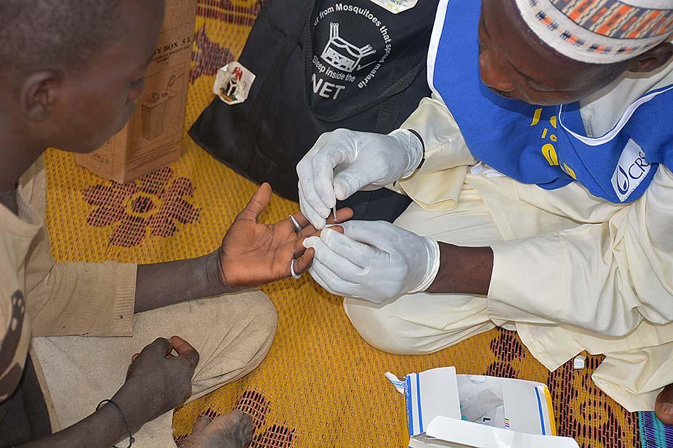 administering malaria test in Nigeria