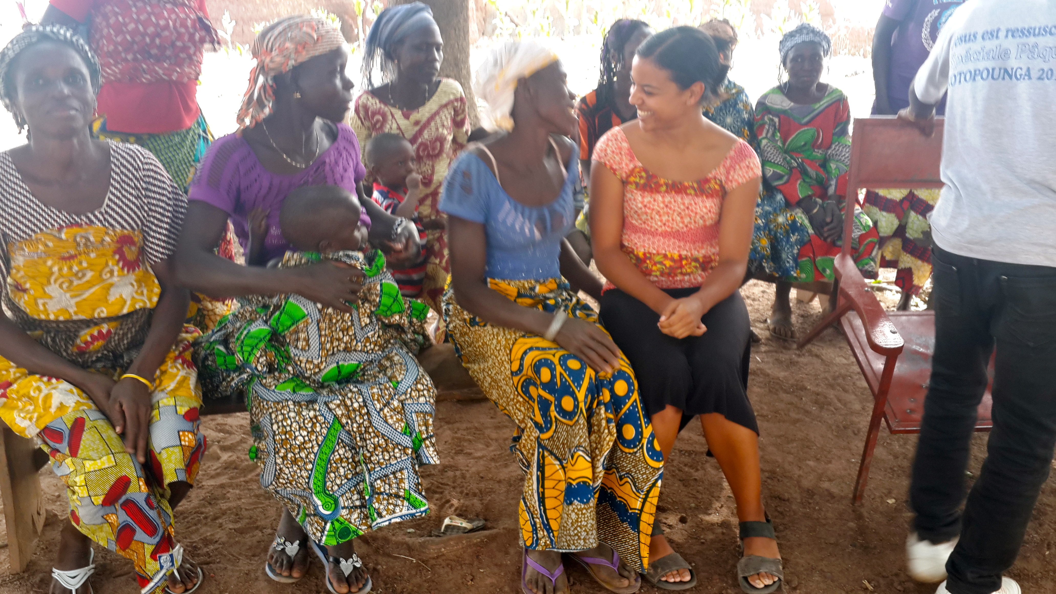 Angie Tyler with the participants of a project that offers health insurance to SILC participants in Northern Benin.