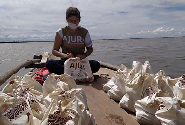 boat transporting hygiene kits to Brazil