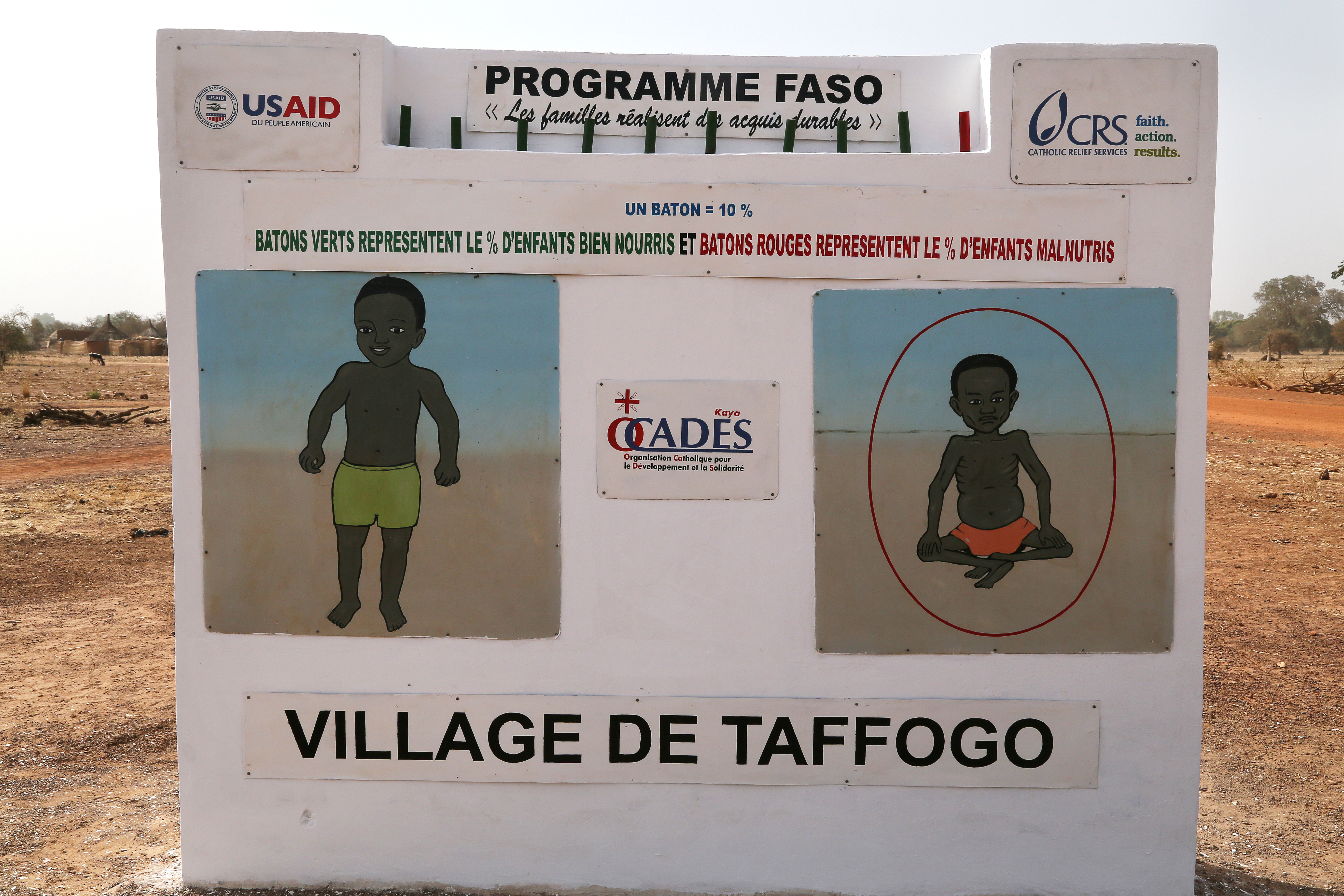 The village health committee uses a scoreboard to focus community attention on progress. Photo by Michael Stulman/CRS