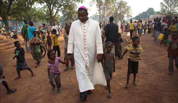 Archbishop Dieudonné Nzapalainga is among those leading interfaith peace efforts in war-torn Central African Republic. His church welcomes displaced people of any faith. Photo courtesy of Matthieu Alexandre for Caritas Internationalis