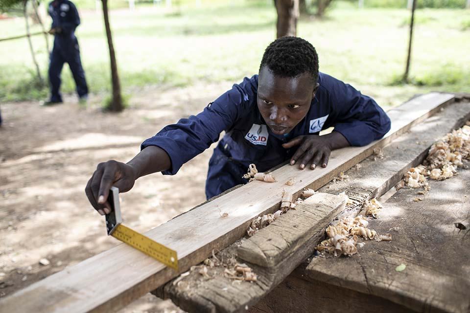 Uganda carpentry student