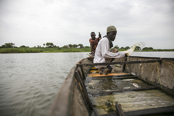 Fishermen Moussa Mai and Hassane Issa take their boat onto Lake Chad to fish. They arrived in Kaya village 12 months ago, after fleeing Boko Haram violence. Photo by Michael Stulman/CRS