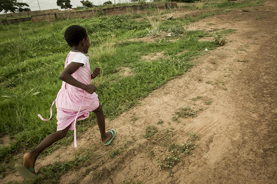 child running in Ghana