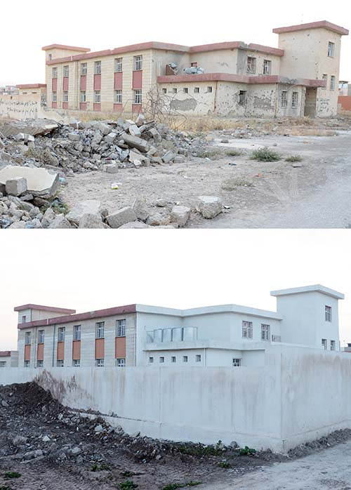 damaged Iraq school before and after