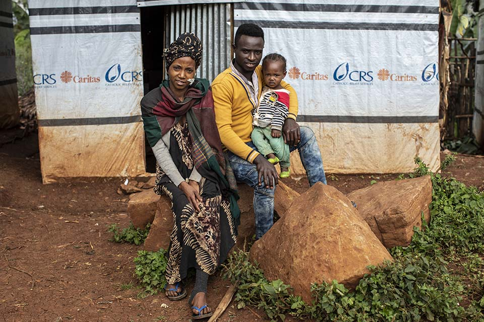 family displaced in Ethiopia