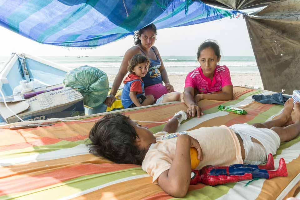 earthquake survivors in Ecuador