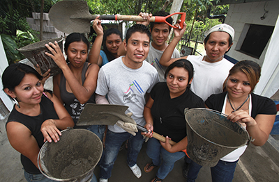 Participants in CRS' Youth Builders project in El Salvador are learning job skills while improving their communities. Photo by Oscar Leiva/Silverlight for CRS