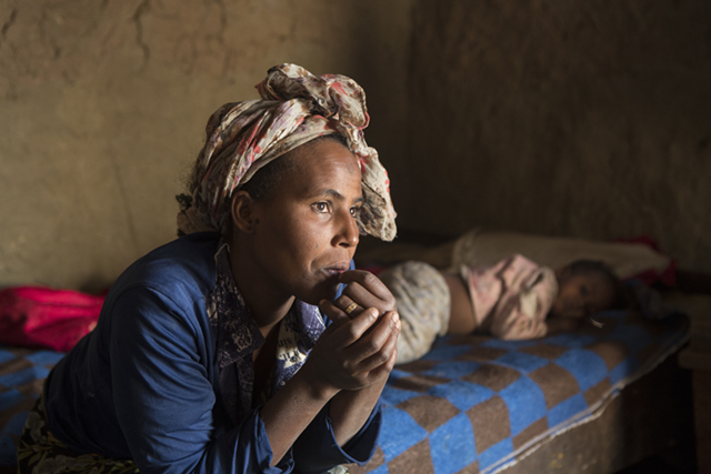 Ganet Gelgehu and her son Joseph live in the village of Gubeta Arjo in Ethiopia. Photo by Sara A. Fajardo/CRS