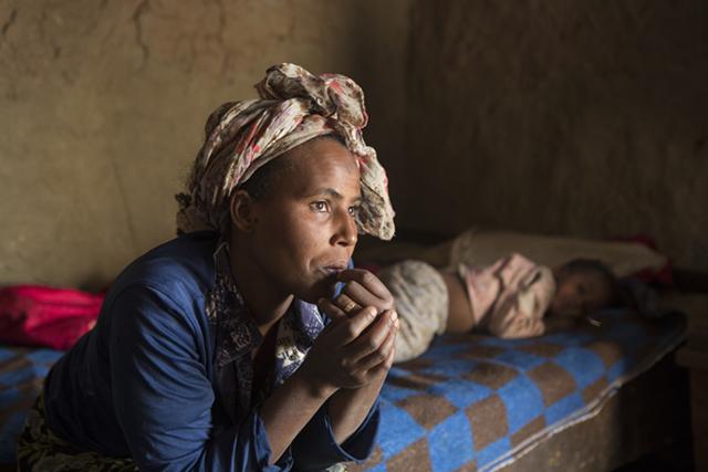 Ganet Gelgehu and her son Joseph live in the village of Gubeta Arjo in Ethiopia. Photo by Sara A. Fajardo/CRS