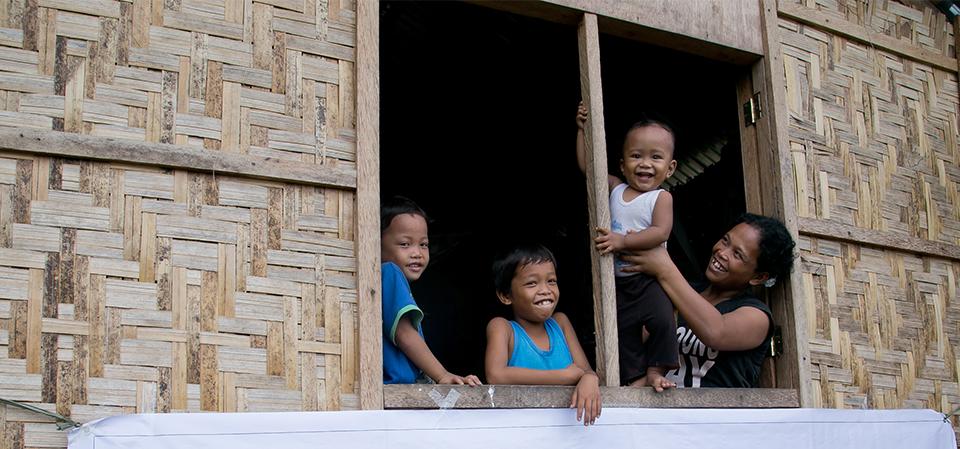family in shelter