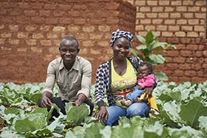 family in their garden in Central African Republic