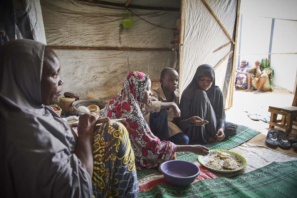 famiy inside shelter in Nigeria