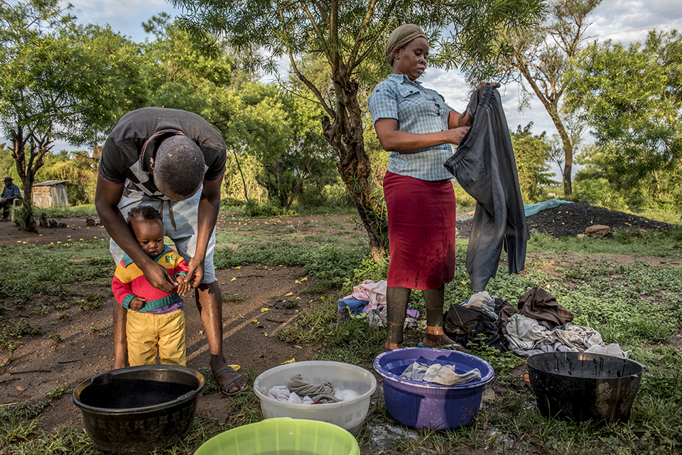 family washing in Kenya