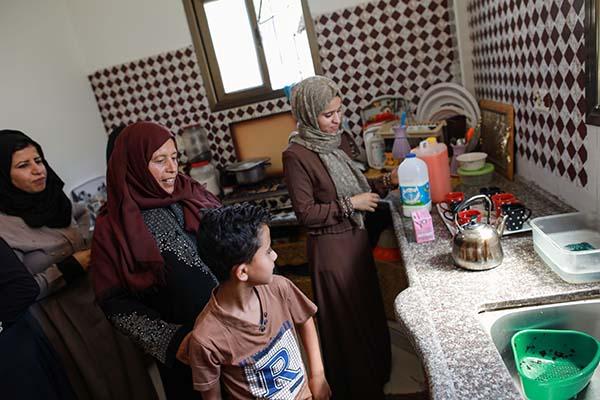 Gaza family in kitchen
