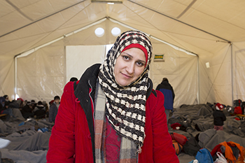 This mother of 4 left Syria with 2 of her sons. Her goal is to meet her brother in Germany.