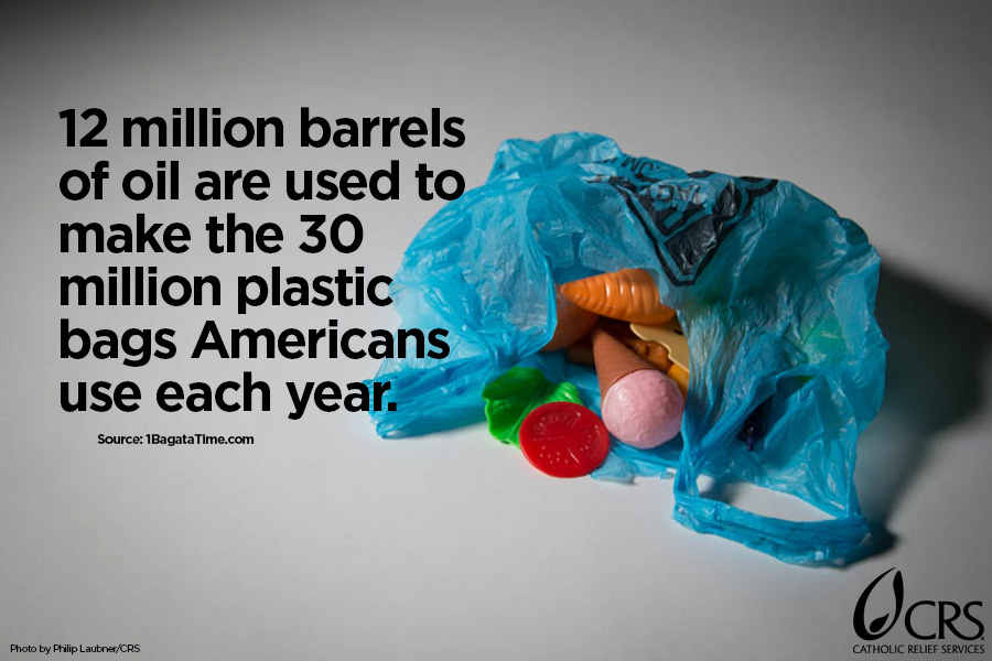 12 million barrels of oil are used to make the 30 million plastic bags Americans use each year.