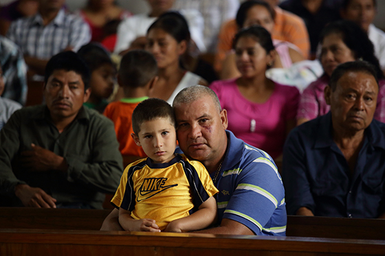Sunday Mass at Olopa Municipality Church in Chiquimula state, Guatemala. Many parishioners subsist mainly on their agricultural activities. Photo by Oscar Leiva/Silverlight for CRS