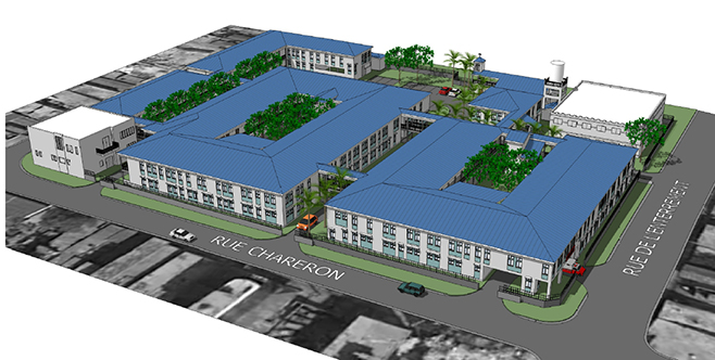 Architect's rendering of the plans for St. François de Sales Hospital. The original hospital was largely destroyed in the earthquake that hit Port-au-Prince on January 12, 2010. CRS is rebuilding the hospital, which will be dedicated in January 2015. Illu