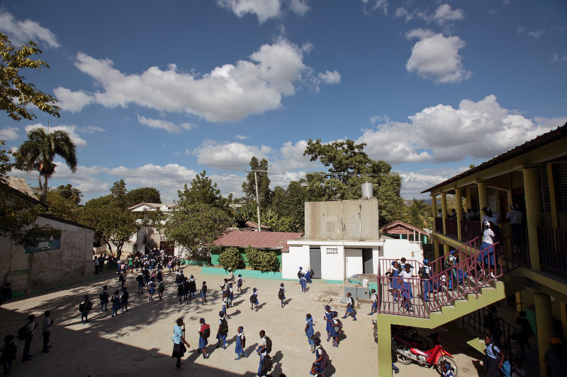 Panoramic view of Notre Dame du Saint Esprit, a Catholic school in Hinche municipality. Catholic Relief Services supports education in Haiti by training and certifying local teachers. Photo by Oscar Leiva/Silverlight for CRS
