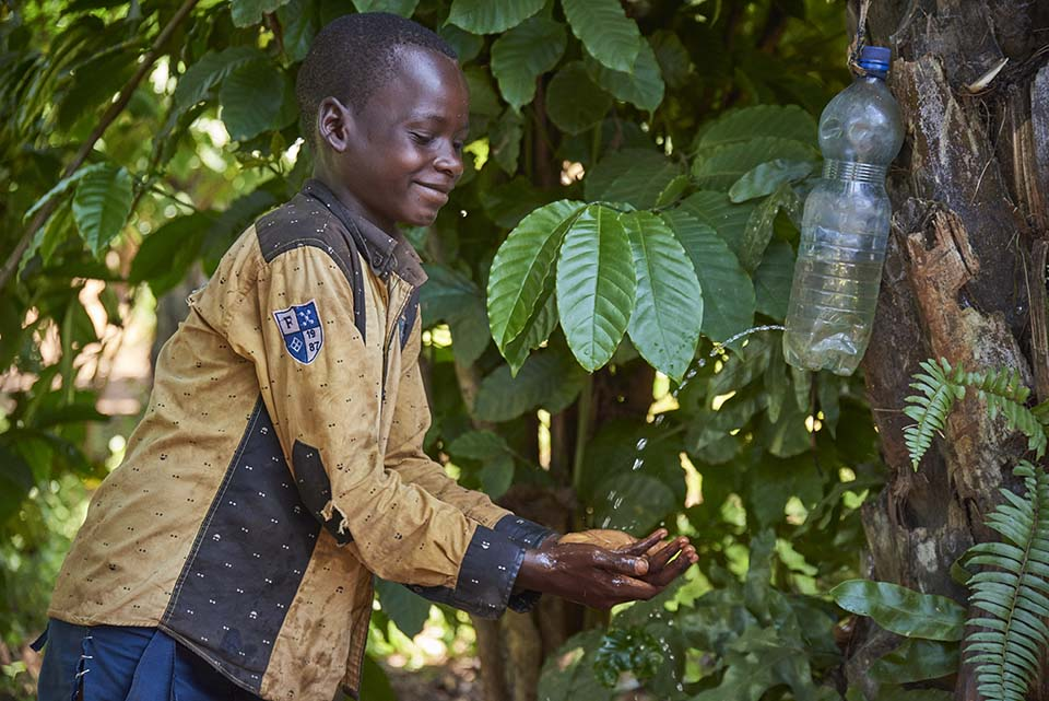 handwashing station in DR Congo