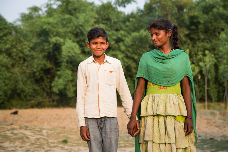 Triveni Kumar, 11, and his sister, Premshila Kumari, 13, are back in school thanks to the CRS-supported Bachpan project to prevent child migration and human trafficking.