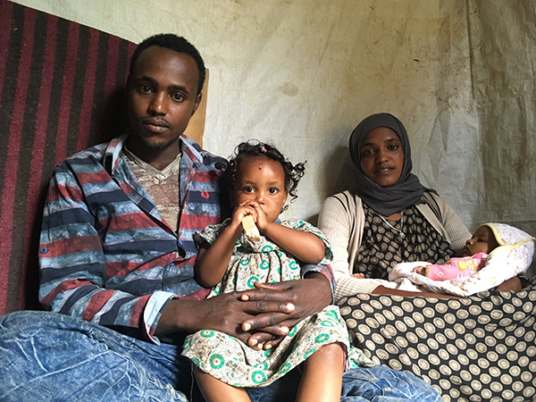 internally displaced family in Ethiopia