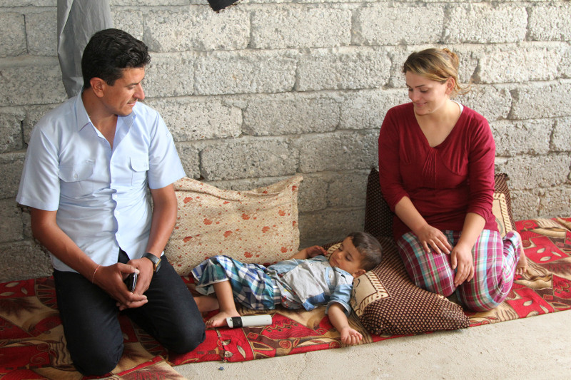 Wesal Badel, her husband, Dakheel, and their 3-year-old son were forced from their home by ISIS. The family now lives in an unfinished home in Iraqi Kurdistan that CRS and our partner Caritas Iraq upgraded with windows and doors. Photo by Kim Pozniak/CRS