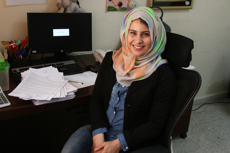 Noura Ashour went from receptionist to assistant project officer for CRS in Gaza. Photo by Nikki Gamer/CRS
