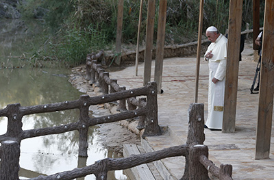 Pope Francis visits Bethany Beyond the Jordan, where many believe Jesus was baptized. Photo by Paul Haring/CNS