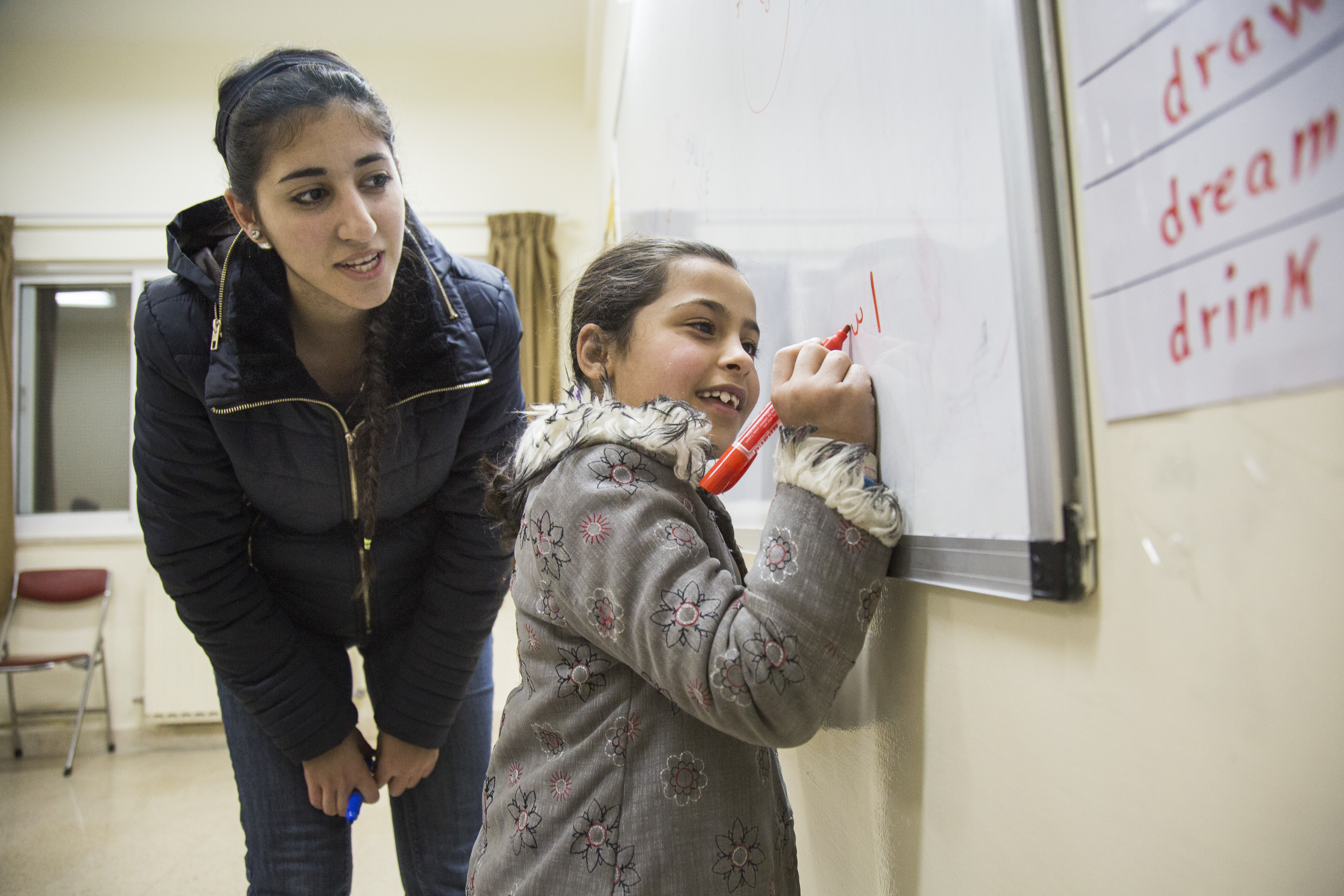CRS supports classes for refugee children as part of the Educational and Protection for Syrian Refugees Project. Photo by Oscar Durand for CRS