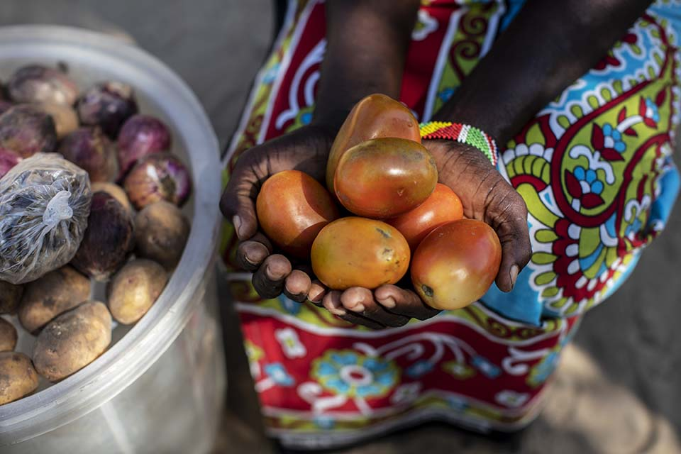Kenya woman holds tomatoes she grew in her garden