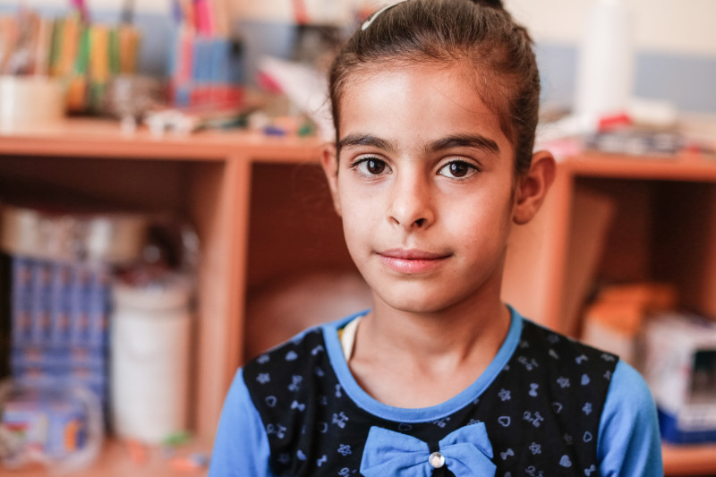 Sakeena, 11, lives in Lebanon's Bekaa Valley with her parents and eight siblings. She attends a yearly summer camp supported by CRS and run by the Congregation of our Lady of Charity of the Good Shepherd Sisters. Photo by Sam Tarling for CRS
