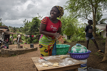 Cooking and selling snacks in Liberia