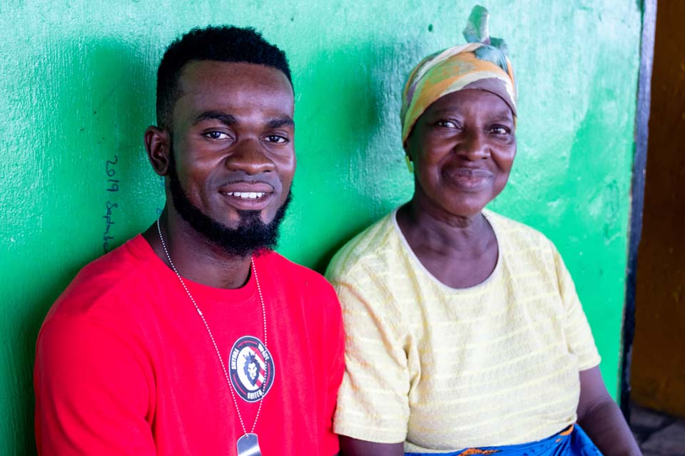 Liberian grandmother and grandson