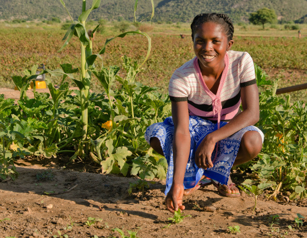 Vaviroa planted nutrient-rich crops for herself and her four children, with help from CRS.