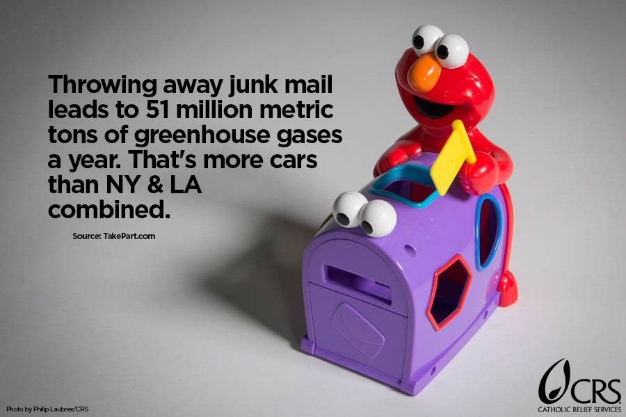 Throwing away junk mail leads to 51 million metric tons of greenhouse gases a year. That's more cars than NY & LA combined.