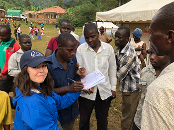 Fellow Meagan Gunning, preparing a food distribution for families affected by a landslide and flash flood in Uganda.