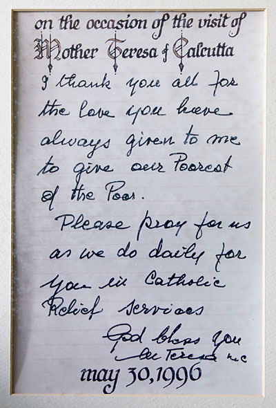 A letter presented to CRS by Mother Teresa on her visit to CRS headquarters on May 30, 1996. Photo by CRS staff