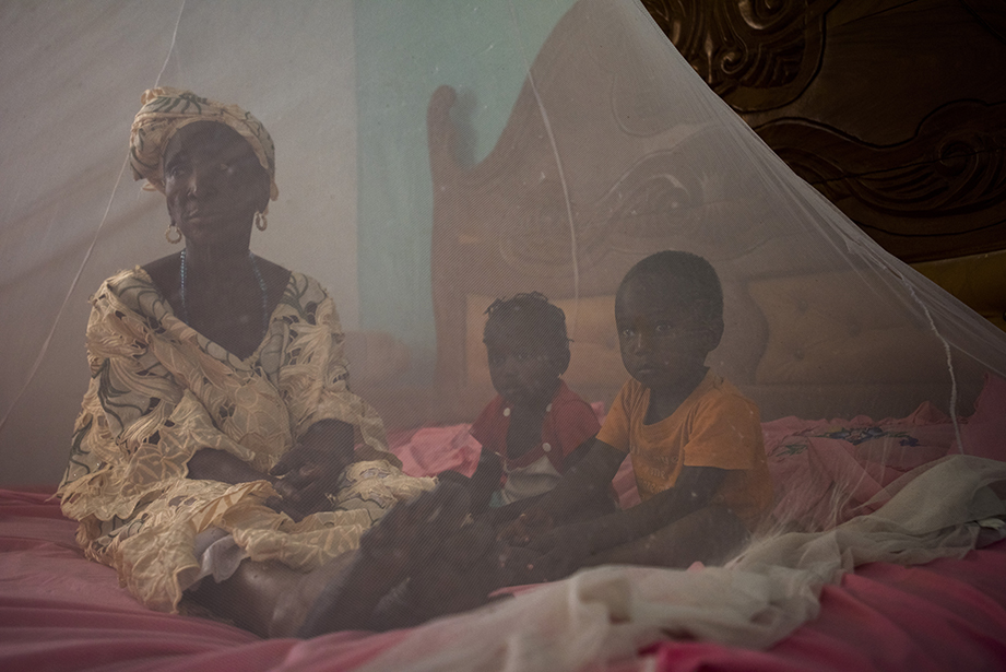 mother and children under malaria net in the gambia