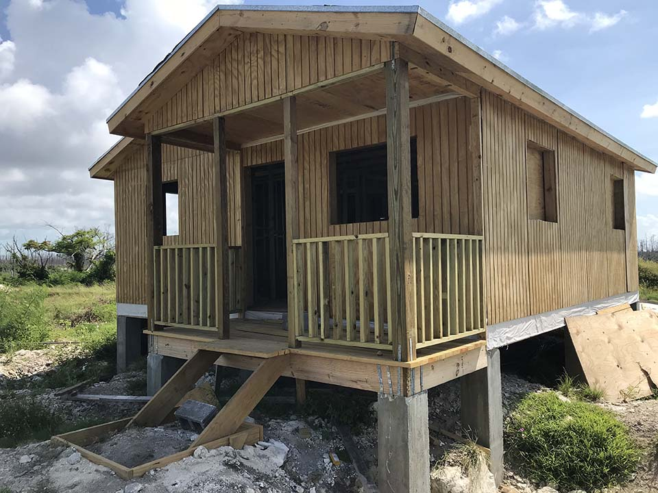 new shelter in Bahamas following Hurricane Dorian damage