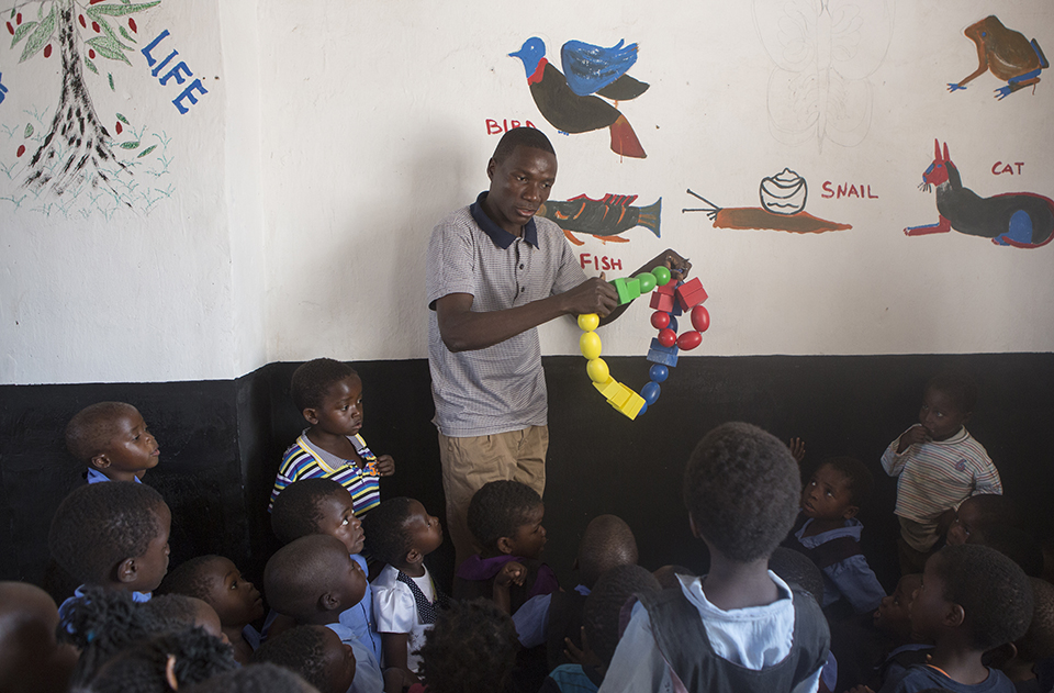 new toys in Malawi childcare center