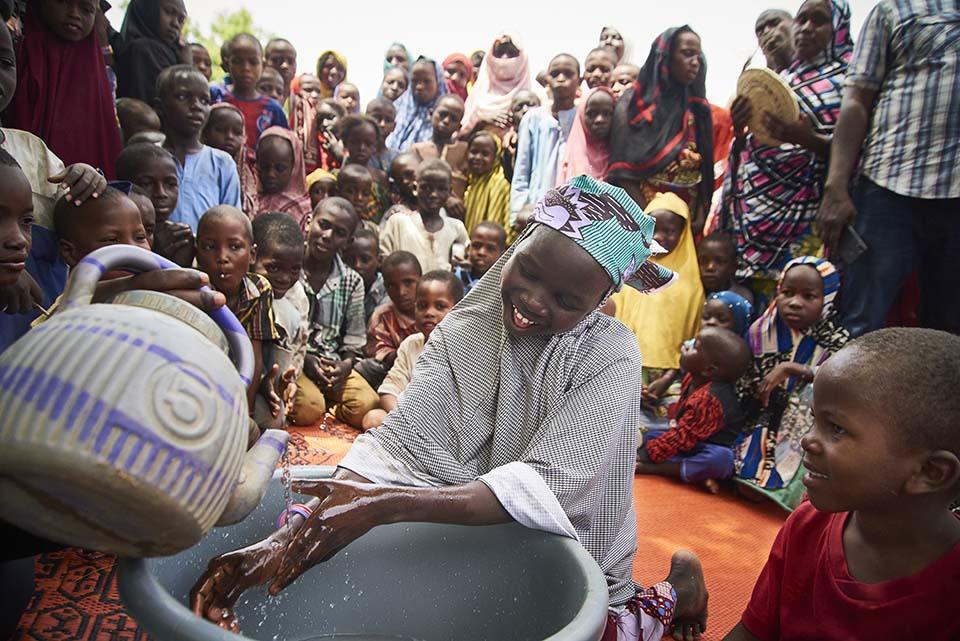 handwashing demonstration in Nigeria
