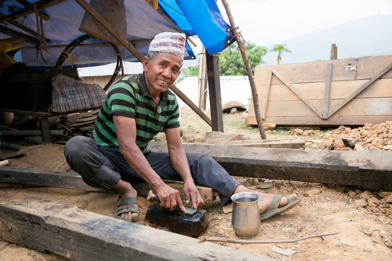 Jyam Bahadur Thapa Magar, a veteran mason and construction foreman, is using skills he learned from CRS to rebuild homes damaged or destroyed by the 2015 earthquake in Nepal.