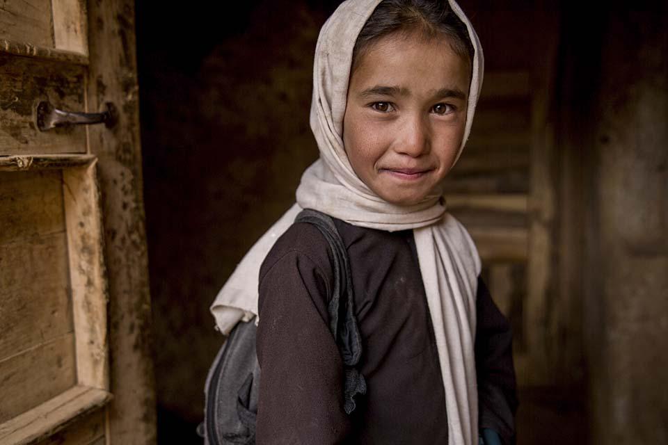 portrait of schoolgirl in Afghanistan