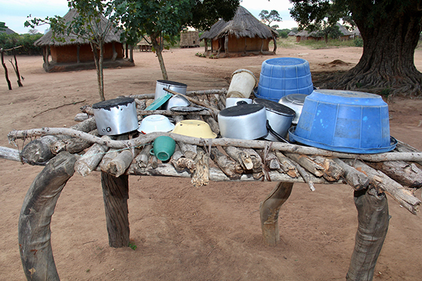 pots and pans drying rack in Zambia