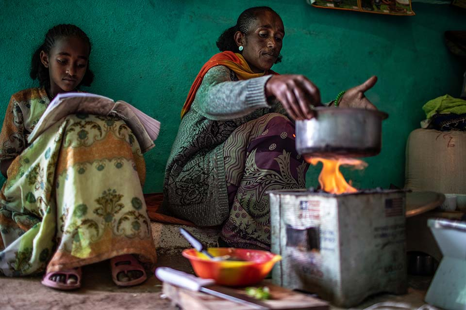 preparing a meal in Ethiopia