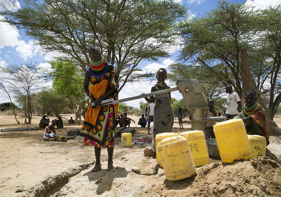 pumping water in Kenya