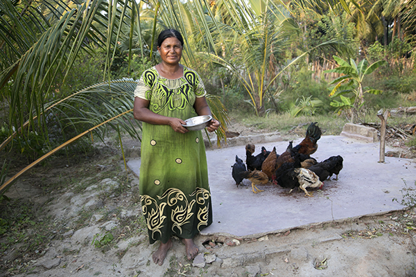 woman raising chickens in Sri Lanka