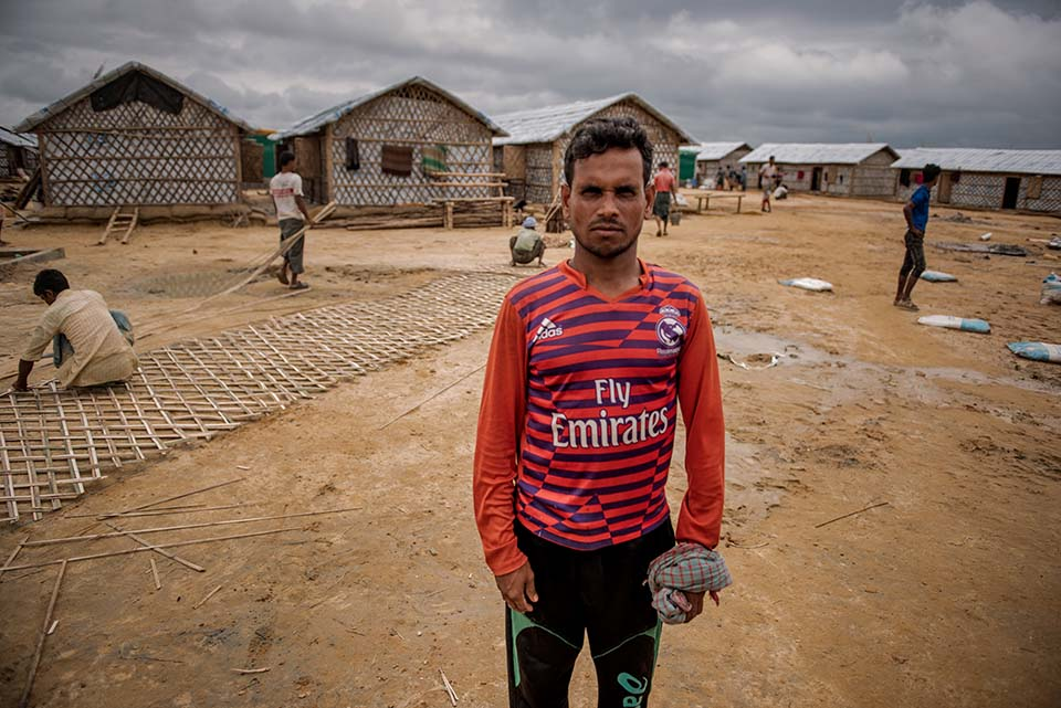 Rohingya refugee who helps build shelters for his fellow refugees in a camp in Bangladesh